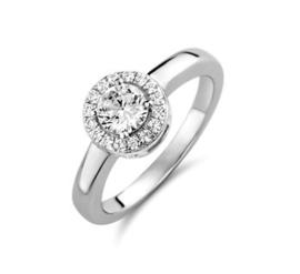 Zilveren ring rond zirkonia