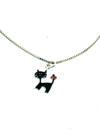 Kinder collier zwarte kat