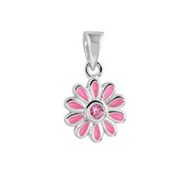 Zilveren kinder kettinghanger roze bloem zirkonia