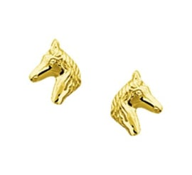 Gouden oorknopjes paardenhoofd