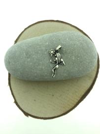 Zilveren kettinghanger elf met staf
