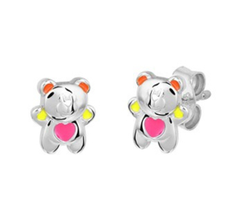 Zilveren oorstekers beer