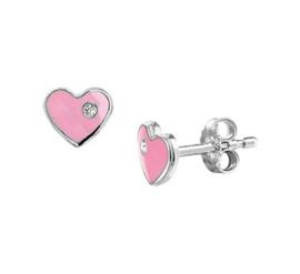 Zilveren oorstekers roze hart zirkonia