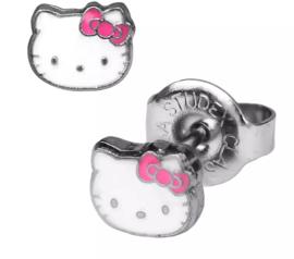 Edelstalen zweerknopjes met hello kitty