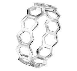 Zilveren ring open zeshoeken