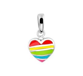 Zilveren kinder kettinghanger regenboog hart