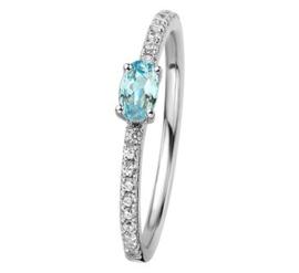 Zilveren ring blauw topaas zirkonia