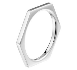 Zilveren ring zeshoek