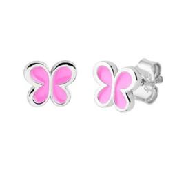 Zilveren oorstekers vlinder roze