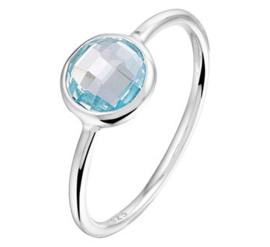 Zilveren ring blauwe topaas