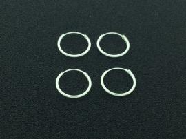 Zilveren oorringen van 1,2 x 14 mm