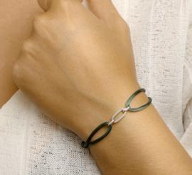 Armband satijn donker groen