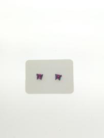 Vlinder oorbel paars/roze