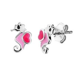 Zilveren oorstekers zeepaard roze