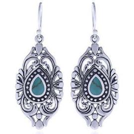 zilveren oorhangers met turkoois