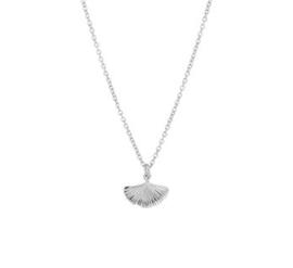 Zilveren set:Collier ginkgo blad en armband
