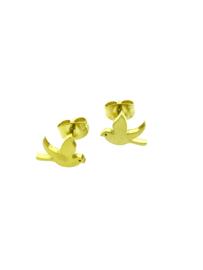 Edelstalen oorstekers vogel goudkleur