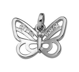 Zilveren kettinghanger vlinder zirkonia