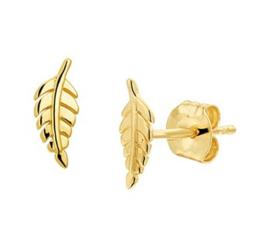 Gouden oorknopjes veer