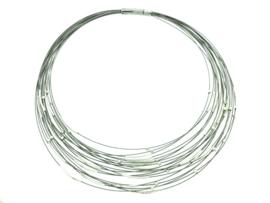 Zilveren collier mer bolletjes en staafjes