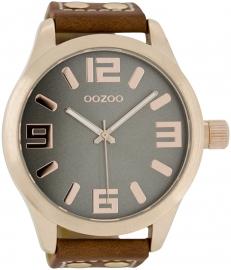 OOZOO horloge grijs / cognac / rosé 51 MM