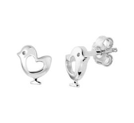 Zilveren oorstekers vogel open hart