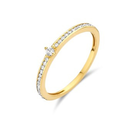 Gouden ring rij steentjes