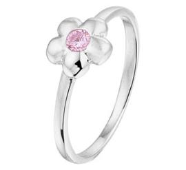 Zilveren kinderring bloem roze zirkonia