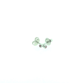Edelstalen zweerknopjes, roze steen zilver-kleurig 'klein'