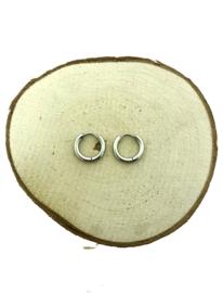 Edelstalen krapcreolen zilver 15 mm