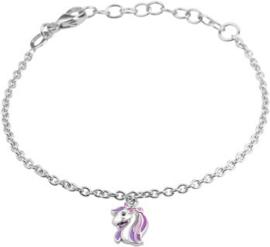 Zilveren set: armbandje en oorknopjes  met eenhoorn