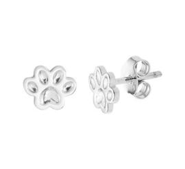 Zilveren oorstekers hondenpootje