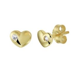Gouden oorknopjes hartje met steentje