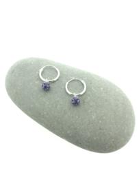 Zilveren oorringetjes steentje paars
