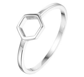 Zilveren ring open zeshoek