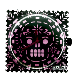 STAMPS-horloge pink death