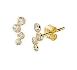 Gouden oorknopjes met een rij zirkonia steentjes