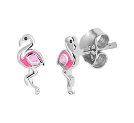 Zilveren oorstekers flamingo