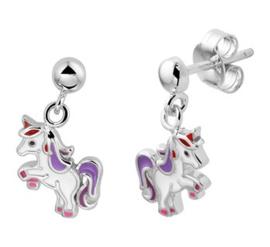 Zilveren oorhangers eenhoorn
