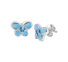 Zilveren oorstekers blauwe vlinder zirkonia