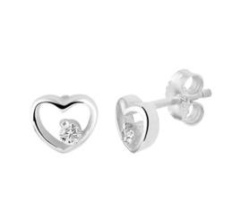 Zilveren oorstekers open hart zirkonia