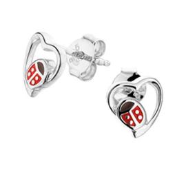 Zilveren oorstekers lieveheersbeestje en hartje