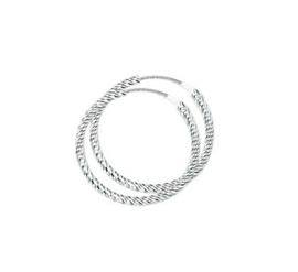 Zilveren oorringetjes gedraaid 24 mm
