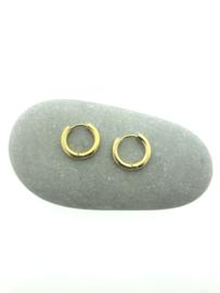 Edelstalen klapcreolen goud 15 mm