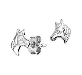 Zilveren oorstekers paardenhoofd