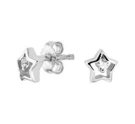 Zilveren oorstekers ster zirkonia