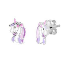 Zilveren oorstekers eenhoorn paars