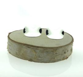 Zilveren oorstekers rond en vervormd