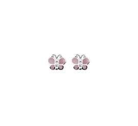 Zilveren oorstekers vlinder roze parelmoer