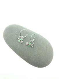 Zilveren oorringetjes vlinder groen